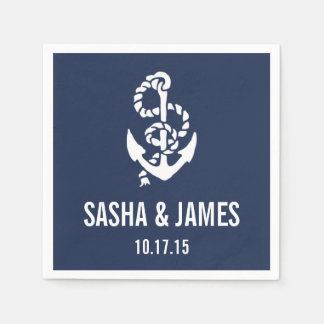 Nautical Rope & Anchor Personalized Disposable Serviettes