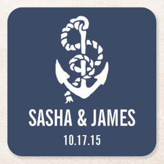 Nautical Rope & Anchor Wedding Coasters