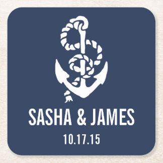 Nautical Rope & Anchor Wedding Coasters Square Paper Coaster