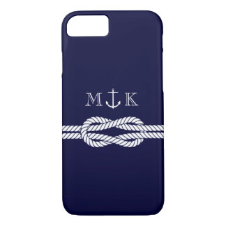 Nautical Rope and Anchor Monogram in Navy iPhone 8/7 Case
