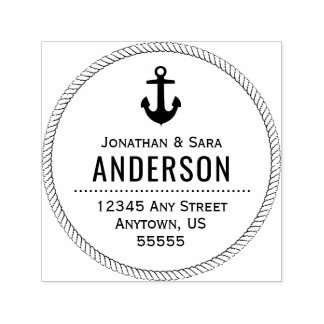 Nautical Rope and Anchor Return Address Self-inking Stamp
