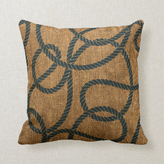 Nautical Rope in Natural with Deep Sea Blue Cushion