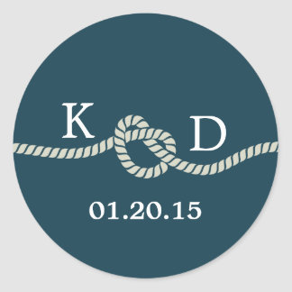 Nautical Rope Knot Blue Wedding Seal Round Sticker