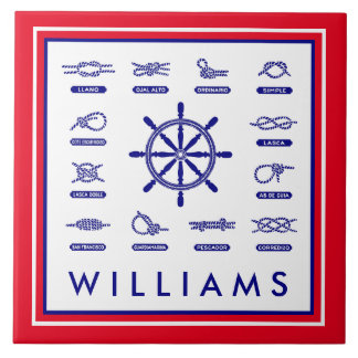 Nautical Rope & Knots | With Your Name Ceramic Tile