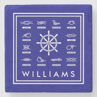 Nautical Rope & Knots | With Your Name Stone Coaster