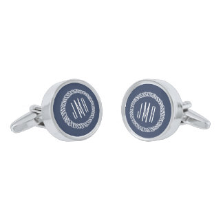 Nautical Rope Monogram Silver Finish Cufflinks