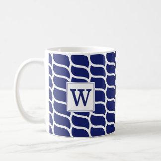 Nautical Rope Pattern Navy Blue Monogram Coffee Mug