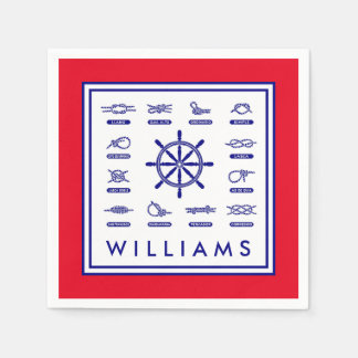 Nautical Rope & Stripes | With Your Name Disposable Napkin