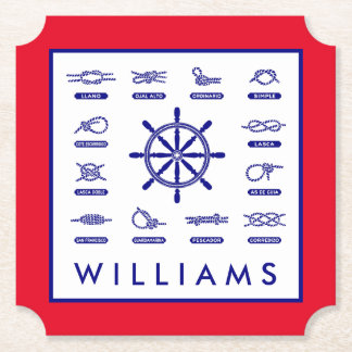 Nautical Rope & Stripes | With Your Name Paper Coaster
