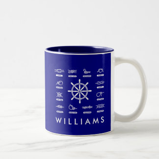 Nautical Rope & Stripes | With Your Name Two-Tone Coffee Mug