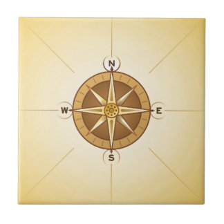Nautical Rose Compass Ceramic Tile