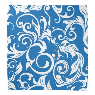 Nautical Royal Blue Floral Wallpaper Pattern Bandana