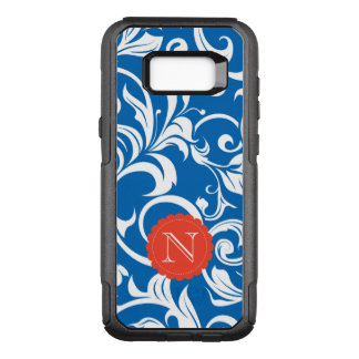 Nautical Royal Blue Red Wallpaper Swirl Monogram OtterBox Commuter Samsung Galaxy S8+ Case