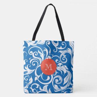 Nautical Royal Blue Red Wallpaper Swirl Monogram Tote Bag