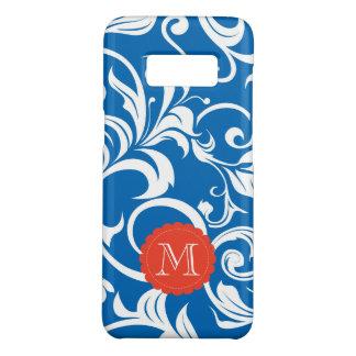Nautical Royal Blue Wallpaper Swirl Monogram Case-Mate Samsung Galaxy S8 Case