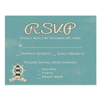 Nautical RSVP Blue Teal Lighthouse & Ship Wheel Postcard