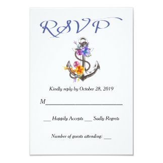 Nautical RSVP Boat Anchor Floral Blue Response Card