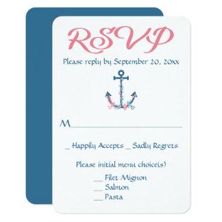 Nautical RSVP Ship Anchor Blue Floral Wedding 9 Cm X 13 Cm Invitation Card