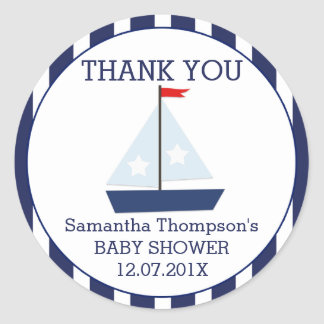 Nautical Sail Boat Baby Shower Favor Sticker