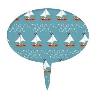 Nautical Sail Boat Print Cake Picks