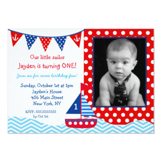 Nautical Sailboat 1st Birthday party Invitation
