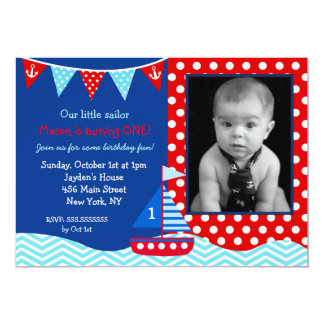 Nautical Sailboat 1st Birthday Party Invitation