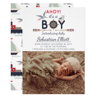 Nautical Sailboat Ahoy Baby Boy Photo Announcement