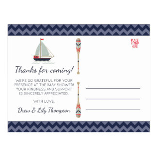 Nautical Sailboat Ahoy Baby Boy Shower Thank You Postcard