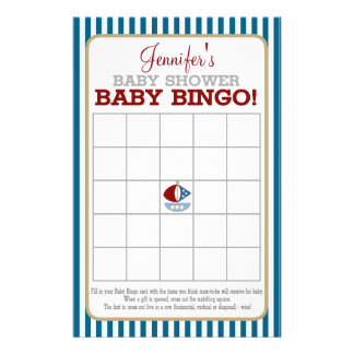 Nautical Sailboat Baby Bingo 14 Cm X 21.5 Cm Flyer