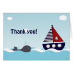 Nautical Sailboat Baby Boy Baby Shower Thank You Note Card