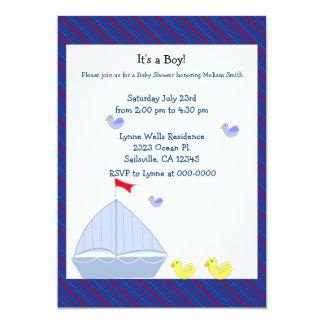 Nautical Sailboat Baby Boy Shower Invitation