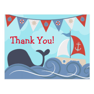 Nautical Sailboat Beach Ocean Whale Thank You Postcard