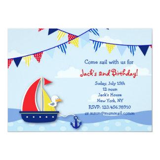 """Nautical Sailboat Birthday Party Invitations 5"""" X 7"""" Invitation Card"""