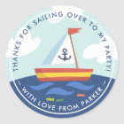 Nautical Sailboat Birthday Thank You Favour Classic Round Sticker