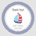 Nautical Sailboat Birthday Thank You Sticker Blue