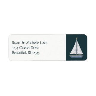 Nautical Sailboat Blue and White Address Return Address Label