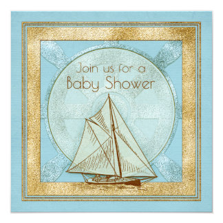 Nautical Sailboat Boy Baby Shower Invitation