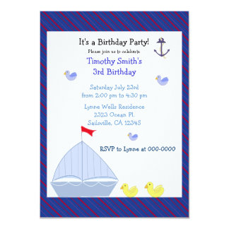 Nautical Sailboat Boy Birthday Invitation