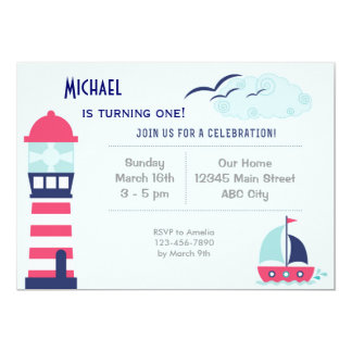 Nautical Sailboat Child Birthday Invitation Blue