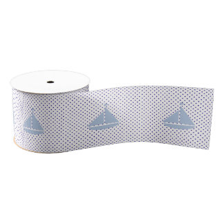 Nautical Sailboat & Dots Grosgrain Ribbon