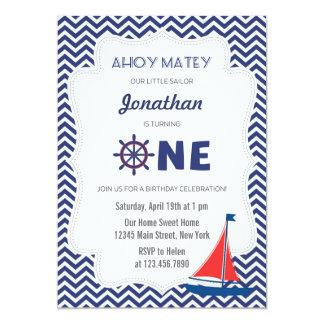 Nautical Sailboat First Birthday Invitation