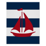 Nautical Sailboat print red, navy and white