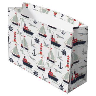 Nautical Sailboat Sailor Baby Boy Shower Party Large Gift Bag