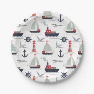 Nautical Sailboat Sailor Baby Boy Shower Party Paper Plate