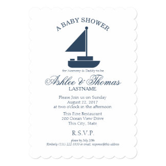 Nautical Sailboat Shower Card