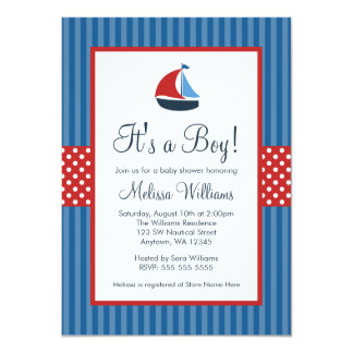 "Nautical Sailboat Stripes Baby Shower Invitations 4.5"" X 6.25"" Invitation Card"