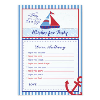 Nautical Sailboat Wishes for Baby Card
