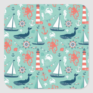 Nautical Sailboats And Whales Square Sticker