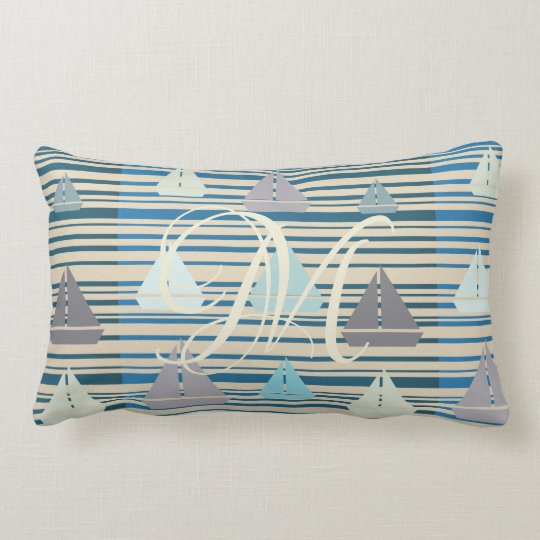 Nautical Sailing Boats Stripes Lumbar Pillow