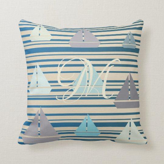 Nautical Sailing Boats Stripes Pillow